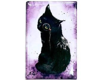 Dapper is as Dapper Does Magnet: Watercolour Black Cat