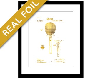 Tennis Racket Patent Illustration Gold Foil Print - Tennis Poster - Tennis Gift - Sports Wall Art - Tennis Racket Art Print - Gold Patent
