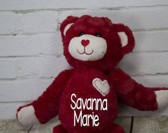 Red Bear - Personalized - Heart Bear - Love Bear - Anniversary Gift - Valentine's Day Gift - Plush Bear - Stuffed Animal
