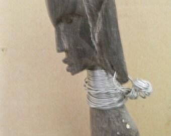 "13 3/4"" Tall Wood Carved Folk Art Sculpture Carving"