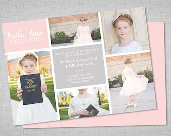 LDS baptism invitation, girls baptism invitation, picture collage, printable baptism announcement - digital baptism invitation