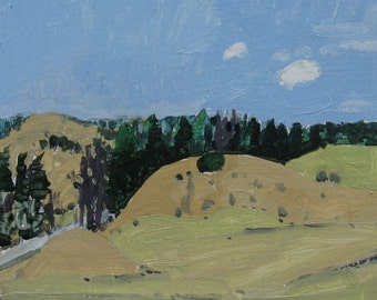 Lost Dog Hill, Early Spring, Original Landscape Painting on Paper