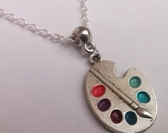 Palette Necklace , Silver Necklace , Artist Necklace , Artist Gift , Bright Artist Palette Necklace , Blue Necklace , Purple Necklace