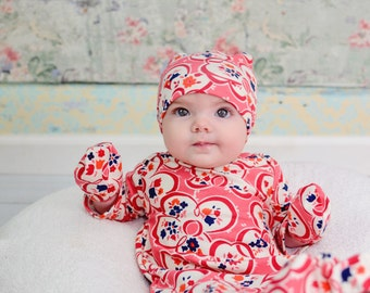 Baby Shower Gown Gift Set - Boho Baby Clothes - Floral Baby Gown - Hipster Baby Gown - Floral Coming Home Outfit