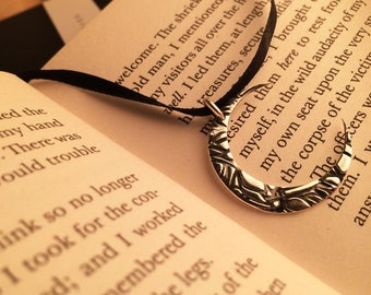 Textured Moon Pendant * Handmade * Sterling Silver Pendant * Silver Necklace * Occult Accessories