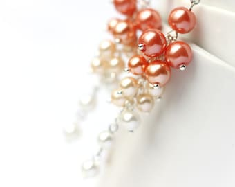 Orange Ombre Earrings, Wedding Bridesmaid Jewelry Pearl Cluster Long Earrings Gradient Color from Orange, Cream to White