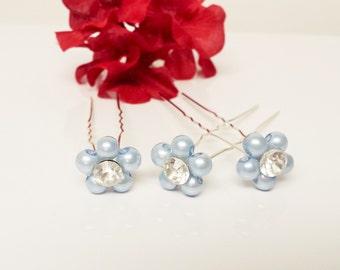 Pool Blue Pearl Hair Pins - Set of 3 Bridesmaid Hair Pins - Rhinestone Flower Girl Hair Accessories