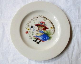 "Pickard China Nursery Rhyme LITTLE MISS MUFFET 9.25"" Plate"