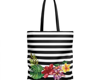 tote bag, tropical flowers, black and white stripes