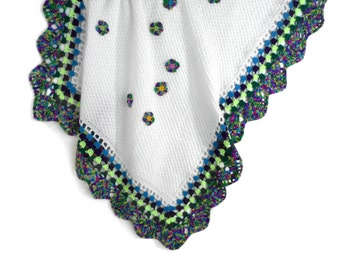 Knitted Baby Blanket - White with Green