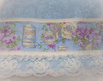Chic Teapot Purple Violet ROSES Light Blue Decorative Guest Towel with Ivory Rose Lace Bridal Mothers Day GIFT