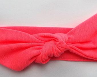 Bright pink jersey adult head band hair wrap scarf bandana headwrap