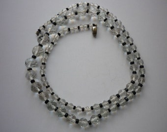 Vintage Faceted Crystal Graduated Bead Necklace Black Jet Spacers Czechoslovakia