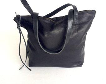 Black Leather Tote Bag  with zipper - black leather bag - zipper tote - black leather travel tote - everyday bag - weekender- Sale