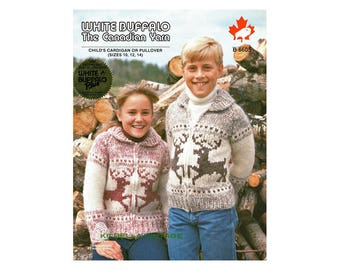 Cowichan Sweater Knitting Pattern White Buffalo Wool Child -  Teen Reindeer Sweater PATTERN  Sizes 10 - 12 - 14 Instant Download