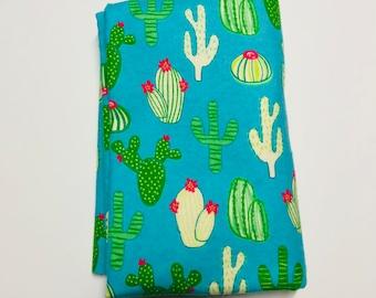 Flannel Receiving Blanket {cactus/blue}