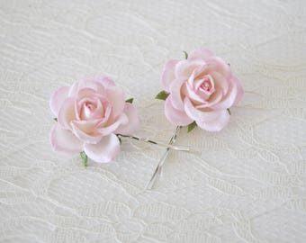 Light Pink Rose Hair Clips, wedding hair accessories, bridal hair clips, pink rose pins, flower hair clips, rose bobby pins, flowergirl