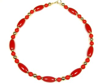 Red Lucite Bead Necklace 1980s