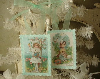 Victorian Easter ornaments vintage postcards paper ornaments farmhouse shabby chic easter decor victorian little girls tag ornaments