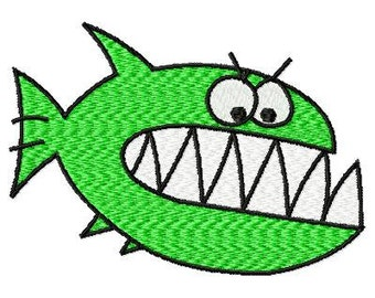 Machine Embrodery Big Teeth Fish