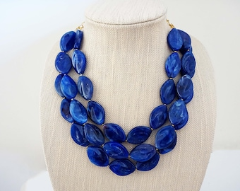 Sapphire Blue Beaded Statement Necklace