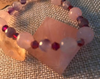 Unconditional love, self worth, protection, headache help- rose quartz- amethyst - red crystal !