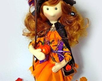 Halloween witch doll Unique Halloween decoration Authors witch doll Halloween gift Fabric Halloween doll Cute witch doll Art witch doll