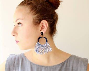 Blaue Ohrringe, trendige Aussage, Fett, Textil-Creolen, lange quastenohrringe, leicht weich Schmuck versandkostenfrei
