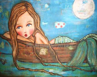 Mermaid on a boat-PAPER PRINT