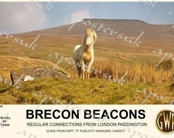 Vintage Style Railway Poster Brecon Beacons Wales A3/A2 Print