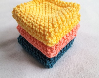 Knitted Dish Cloth Set of 3, Knit Wash Cloth