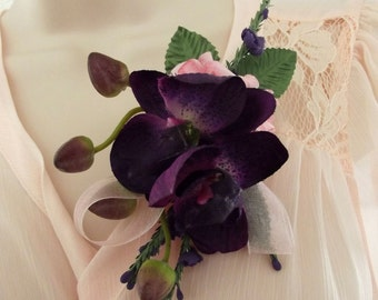 Purple orchid & pink rose corsage