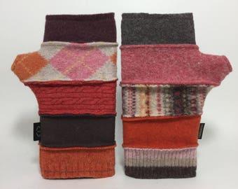 Baabaazuzu Orange and Pink Felted Wool Fingerless Gloves