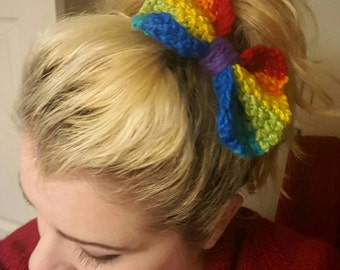 Knitted Rainbow Bow