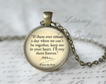 Winnie the Pooh, 'Keep Me In Your Heart', A. A. Milne Quote Necklace or Keyring, Keychain.