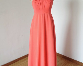 Empire Waist Halter Coral Chiffon Long Maternity Bridesmaid Dress