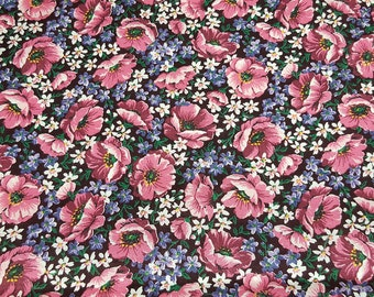 SALE vintage 80s cotton quilting fabric, shabby chic floral print by VIP Cranston Print Works, 1 yard, 3 available, priced per yard