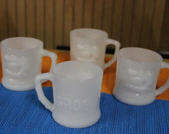 Set of 4 BC Comics Grog Coffee Mugs by Fire King 1960's