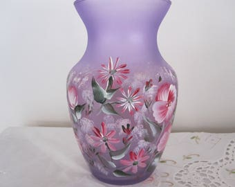 Purple Vase hand painted floral design. Great Valentines day gift, Anniversary, Birthday, Bridal shower, Housewarming, gift for her, Teacher