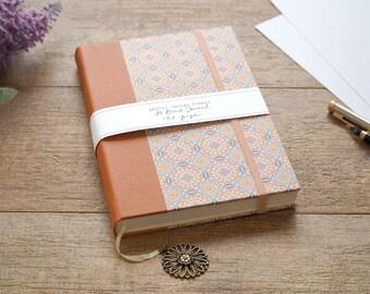 Blank Drawing Journal, Unlined Blank Notebook, A5 Sketchbook, Artists Journal, Orange Retro Round Design
