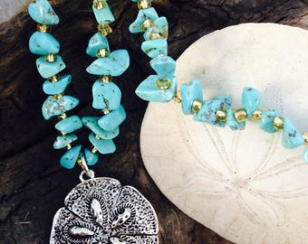 Turquoise Sand Dollar Necklace - Gift for Grandma - Sand Dollars - Turquoise Jewelry - Sand Dollar Jewelry - Seashells -
