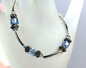 Bracelet- Swarovski Light Sapphire AB Cube & Sterling Silver Tube / Sterling Silver and Light Blue Crystal Bracelet / Thin Elegant Bracelet