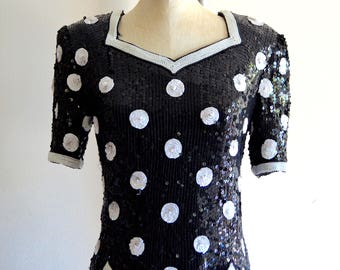POLKA DOT SEQUINED Scalloped Top Blouse Pearl Beaded Wedding Silk Street Style