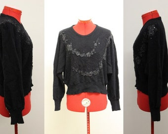 RARE Vtg 1980's Women's Braziliance Black Wool/Angora/beaded & embellished 3D Sweater size Small/Made in Brazil/Glam/Party/Bling/Holiday