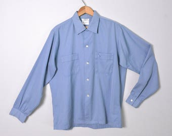 Vintage 1950s Men's Shirt 50s Blue Medium Long Sleeve Loop Collar Shirt