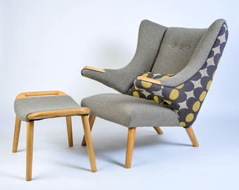 Hans Wegner Papa Bear arm chair and ottoman
