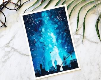 Blue galaxy sky city skyline watercolour painting by artbybee7