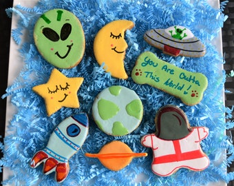 Dante's Outta This World Cookie Box /Healthy Dog Treats /Outer Space Gift /Dog Cookies /Organic Dog Treats /Dog Birthday /Dog Bakery
