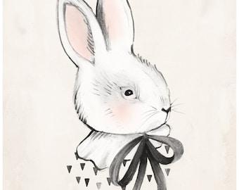 Bunny & Bow - 8X10, 11X14