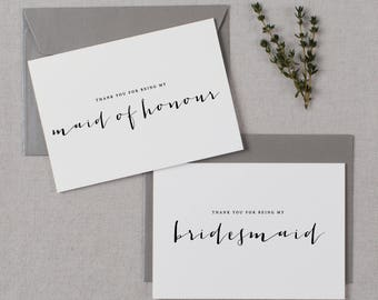 5 x Thank You Bridesmaid Card, Thank You For Being My Maid of Honor, Maid of Honor Card, Bridesmaid Card, Thank You Wedding Cards, K4